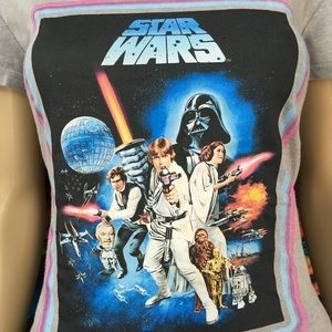 WOMENS STAR WARS SHIRT RETRO PINK LOGO TOP VNECK